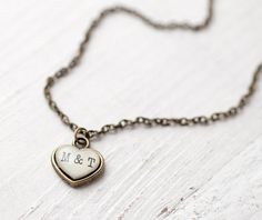 Personalized Initials Necklace. Tiny Heart. Polina and Sergey. BeautySpot