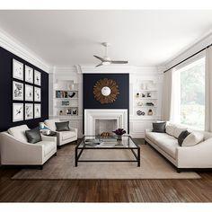 Elegant Living Room, Boho Living Room, Living Room With Fireplace, Living Room Grey, Formal Living Rooms, Home And Living, Navy And White Living Room, Small Living, Living Room With Color