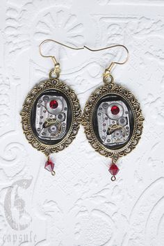 Steampunk Neo Victorian Golden Cameo Earrings with Antique Etched Striped Watch Movement with Red Dark Siam Swarovski Crystal