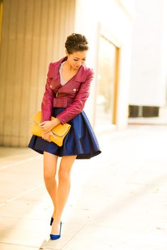 Birthday Colors :: Fuchsia bow jacket & Sapphire flare - Wendys Lookbook