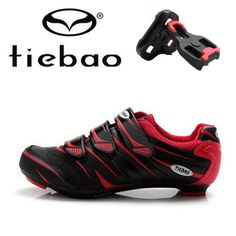 TIEBAO Road Racing TPU Soles Mountain Biking Shoes Cycling Sport Breathable Athletic MTB Cycling Shoes men add pedal plywood