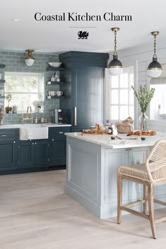 A coastal kitchen exudes inviting, beachy style all year long. This space from @will_uk of Bright Bazaar features Torquay Matte quartz countertops and two-toned gray and blue cabinets. Get tips for creating your own coastal look on our blog, Refine + Define. #graycabinets #bluekitchen #blueandwhitekitchen #coastaldecor #whitequartzcountertops