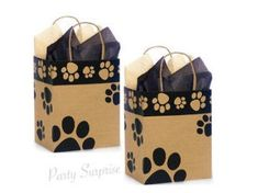 Paw Print Bags Kraft Recyclable Made in USA Paw Print Gift Bags with Handle Dog Party Cat Party Dog Cat Gift Bags by PartySurprise on Etsy Puppy Party, Cat Party, Printed Ribbon, Printed Bags, Its A Boy Balloons, Puppy Birthday, Birthday Kids, Birthday Parties, Balloon Dog