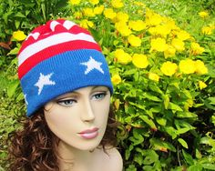 Red White and Blue - show your patriotic spirit with this American Flag Stars and Stripes Knit Hat!