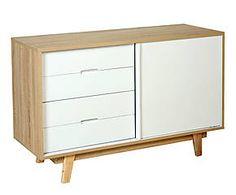 Buffet SCANDAL bois de chêne, naturel et blanc - L120