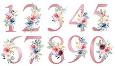 Number set with watercolor flowers roses and leaf. Perfectly for wedding invitations, greeting card, logo, poster and other floral design. Isolated on white background. Flower Background Wallpaper, Flower Backgrounds, Wallpaper Backgrounds, Fancy Letters, Watercolor Lettering, Flower Wall Decals, Most Beautiful Wallpaper, Bee Art, Wedding Card Templates