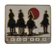 """WYOMING STATE lapel cloisonne vintage enamel pin cowboys by VintageTrafficUSA  21.00 USD  A Wyoming state pin! Excellent condition. Measures: approx 1"""" 20 years old hard to find vintage high-quality cloisonne lapel/pin. Beautiful die struck metal pin with colored glass enamel filling. Add inspiration to your handbag tie jacket backpack hat or wall. Have some individuality = some flair! -------------------------------------------- SECOND ITEM SHIPS FREE IN USA!!! LOW SHIPPING OUTSIDE USA…"""