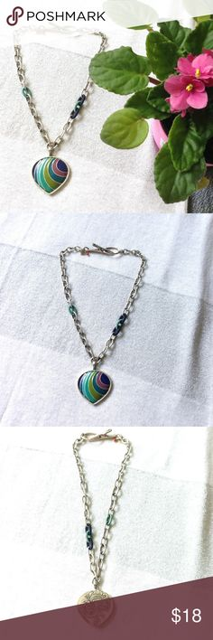 "Lucky brand heart statement necklace Adorable Lucky brand statement necklace, silver with a rainbow heart pendant and a chunky chain! Perfect gift for a tween and a young teen! In stellar condition! 16"" chain Lucky Brand Jewelry Necklaces"