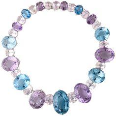 Impressive Large Kunzite Blue Topaz Morganite White Gold Necklace |
