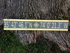 Personalized atitude longitude sign/custom longitude latitude wood sign/family GPS coordinates sign/distressed coordinates/yellow latitude by InspiringDecorStudio on Etsy https://www.etsy.com/listing/264293597/personalized-atitude-longitude