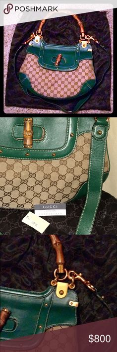 GUCCI Guccissima Leather Bamboo Handle Peggy Bag New, storage kept, Never Used, Pristine Condition. Sparkly clean inside and out. This baby needs a good home. It just isn't my style. Impulse buy 😏. Medium sized. Long, Detachable leather strap. Hard to find this style and exact color combo. Bamboo wooden top handle and turnlock closure with studded details. Rose gold tone hardware. Fun logo lining. 2 interior compartments and 1 zipper pocket. Dust bag included. Comfortable & versatile..can…