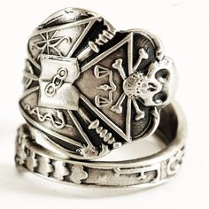 Skull Order of the Odd Fellows IOOF Spoon Ring in by Spoonier