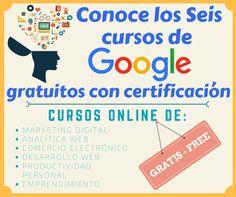 Seis cursos de Google gratuitos con certificación sobre marqueting digital analítica web comercio electrónico desarrollo web, productividad y emprendimiento