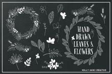 Hand Drawn Flowers & Foliage B&W