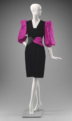 1980s, France - Woman's dress by Carven-Boutique - Rayon velvet and printed silk plain weave Silk, printed