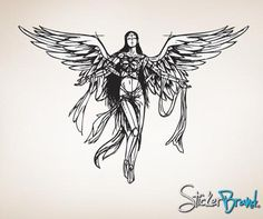 About This Wall Decal Decal B br br The Measurements Are br Tall X Wide ft Tall br br Default color is Black br Please email us your color We Angel Sketch, Angel Drawing, Cool Drawings, Drawing Sketches, Body Art Tattoos, Small Tattoos, Android Wallpaper Abstract, Angle Tattoo, Fallen Angel Tattoo