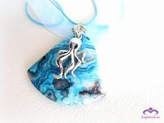 Silver octopus lace agate pendant necklace by MalinaCapricciosa, $25.00