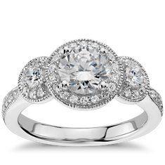 Three Stone Milgrain Halo Engagement Ring in 14k White Gold