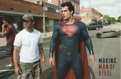 Zack Snyder and Henry Cavill on the set of Man of Steel.