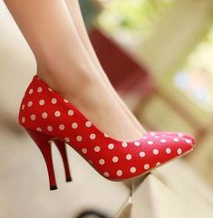 Red and polka dots long heel shoes