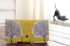 Handmade Wallet - Tree Prints Wallet - Vegan Wallet / Majestic Oak Trees in Sunglow -- PREORDER