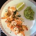 Garlic Shrimp and Chipotle Guacomole -- the best part of this high protein recipe is making the Garlic Oil for future use!