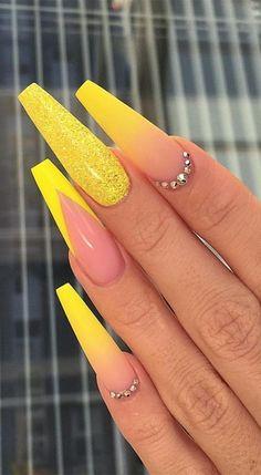 Yellow Nails Design, Yellow Nail Art, Acrylic Nails Yellow, Pastel Yellow, Neon Yellow Nails, Yellow Hair, Orange Nails, Royal Blue Nails, Neon Purple