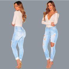 Good Hole Ripped Jeans Women Pants Cool Denim Pencil Jeans For Girl Pants Andrea Mendes Arroio Deiama Miami Beach Brazilian Brunette Women's Clothing