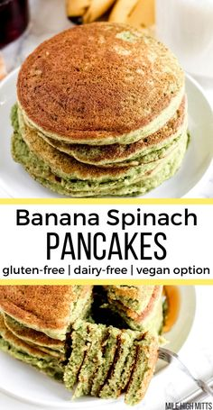 Add some veggies to your breakfast with these easy and healthy Banana Spinach Pancakes, made in a food processor or blender. Dairy Free Recipes, Vegan Gluten Free, Baby Recipes, Budget Recipes, Paleo Recipes, Spinach Pancakes, Vegan Banana Pancakes, Oat Pancakes, Waffles