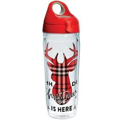 Tervis  Simply Southern Deer Christmas Here Water Bottle ($26) ❤ liked on Polyvore featuring red