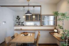 Japanese Interior Design, Office Interior Design, Kitchen Interior, Kitchen Design, Japanese Living Rooms, Design Oriental, Narrow House Designs, Asian House, Study Room Design