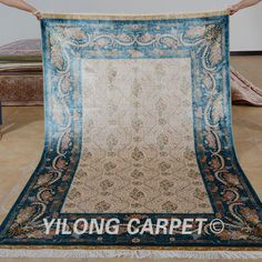 Yilong 5'x7.5'  oriental silk carpet vantage hand knotted traditional oriental rug (1123)