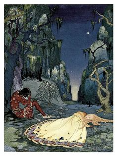 """""""Violette consented willingly to pass the night in the forest.""""    Virginia Frances Sterrett    1920 Illustration for Old French Fairy Tales by Sophie de Ségur"""