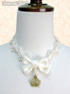 IW-Entwined Ribbon Necklace (beige) 124925