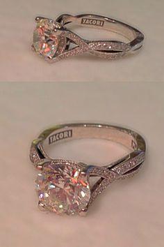 My amazing engagement ring! Tacori style #2565 platinum setting with a 2.50 carat round brilliant cut center stone
