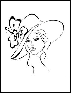 simple lines Retro hat Embroidery Patterns, Hand Embroidery, Art Sketches, Art Drawings, Coloring Books, Coloring Pages, Desenho Tattoo, Wire Art, Pencil Art