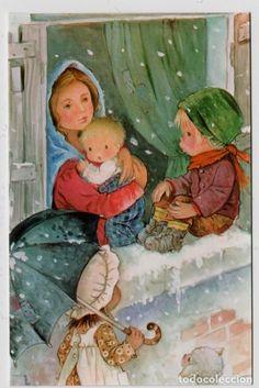 POSTAL NAVIDAD ILUSTRADA POR CONSTANZA CYZ REF. 799/118-A NUEVA CON SOBRE - Foto 1 Image Notes, Blessed Mother, Vintage Christmas Cards, Big Eyes, Christmas Traditions, Image Sharing, Shadow Box, Animated Gif, Caricatures