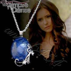 Vampire Diaries - Katherine Pierce -  Lapis Lazuli - protection pendant necklace - plus Vampire Diaries card. $24.99, via Etsy.