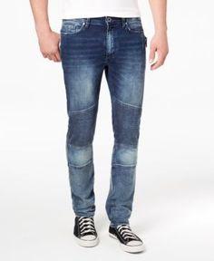 Calvin Klein Jeans Men's Slim-Fit Stretch Moto Jeans - Blue 32x32