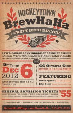 Hockeytown Brew Ha Ha beer dinner poster