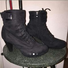🎈SALE!! Black Booties Maybe it's the heels, maybe it's me, but I can't walk in these things. I have the worst luck buying shoes online.  Overall condition of the shoes is very nice - minus the scratches on the back of the heels. Shoes Ankle Boots & Booties