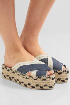 Sole measures approximately 55mm/ 2 inches Blue denim, cream canvas Slip on Imported