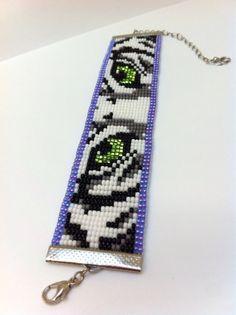 White Tiger Bead Loom Bracelet by Beadalilmore on Etsy, $20.00