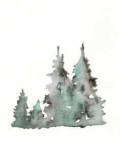 Winter's Edge / Winter Trees / Watercolor Print by kellybermudez, $20.00