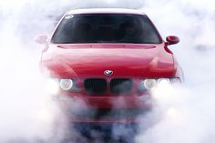 BMW M5 E39 Red Car Drift Poster