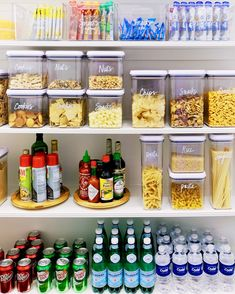 Simply Beautiful Pantry Organization Ideas Use stackable containers to store expendable food in your pantry.Use stackable containers to store expendable food in your pantry. Kitchen Organization Pantry, Home Organisation, Diy Kitchen Storage, Pantry Storage, Kitchen Pantry, Organization Hacks, New Kitchen, Organizing Ideas, Organized Pantry