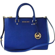 Pre-owned Navy Blue Leather Michael Kors Saffiano Satchel ($215) ❤ liked on Polyvore