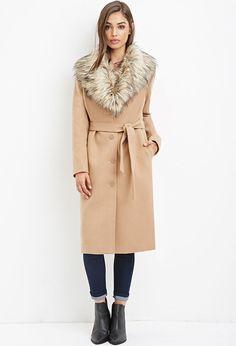 FAUX FUR-TRIMMED DUSTER COAT. #dress #fashion #style #trend #onlineshop #shoptagr