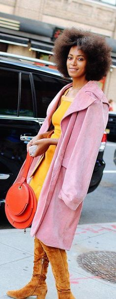 Solange Knowles in J.W.Anderson coat and bag
