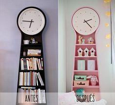 Reloj PS Pendel de Ikea pintado en rosa.
